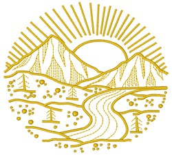 Sunrise embroidery design
