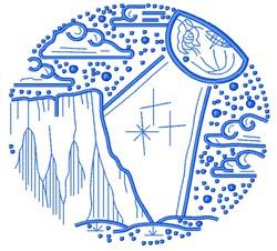 Spaceship Scene embroidery design