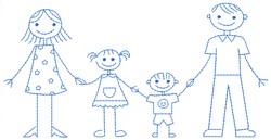 Stick Figure Family embroidery design