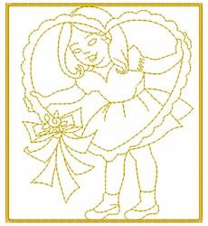 Vintage Valentine Girl embroidery design