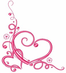 Heart Corner embroidery design