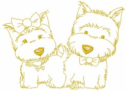 Dog Couple embroidery design