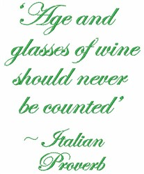 Italian Wine Proverb embroidery design