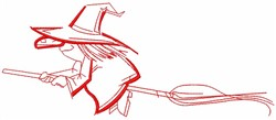 Witch on Flying Broom embroidery design