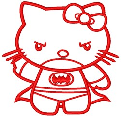 Superhero Kitty embroidery design