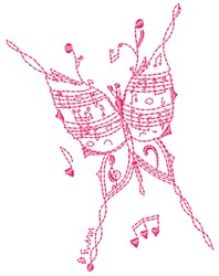 Music Butterfly embroidery design
