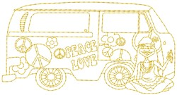 Hippy Van embroidery design