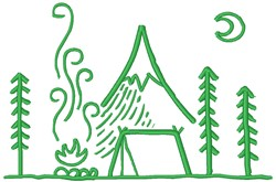 Campsite At Night embroidery design