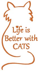 Life Is Better With Cats embroidery design