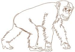 Chimpanzee embroidery design