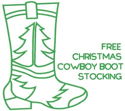 Cowboy Boot Stocking embroidery design