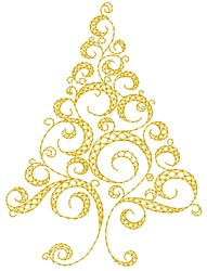 Swirly Christmas Tree embroidery design