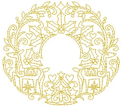 Vintage Christmas Wreath embroidery design