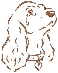 Sad Cocker Spaniel Dog embroidery design