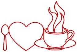 I Heart Coffee embroidery design
