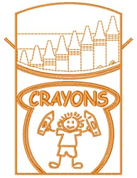Crayons embroidery design