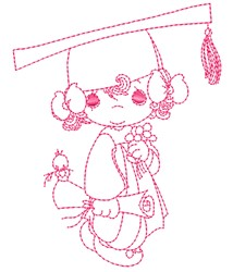 Girl Graduate embroidery design