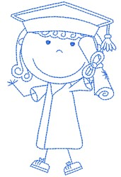 Stick Figure Graduate embroidery design