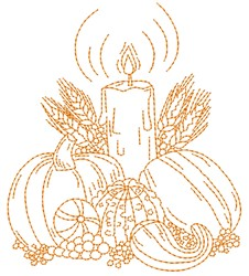 Harvest Candle embroidery design