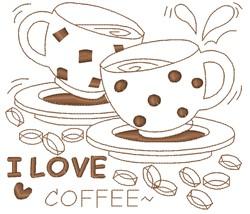 I Love Coffee embroidery design