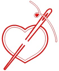 Sewing Needle Heart embroidery design