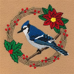 Blue Jay Holiday Wreath embroidery design