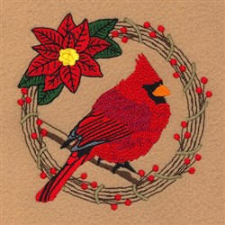 Cardinal Holiday Wreath embroidery design