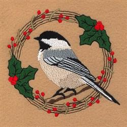 Chickadee Holiday Wreath embroidery design