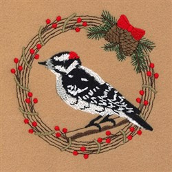 Downy Woodpecker Holiday Wreath embroidery design