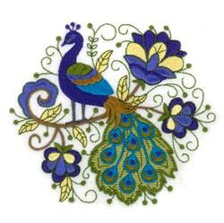 Round Jacobean Peacock embroidery design