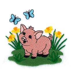 Spring Piglet embroidery design