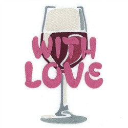With Love Wine Tote embroidery design