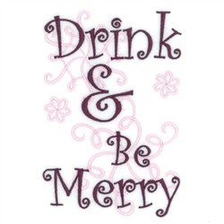 Drink Be Merry Wine Tote embroidery design