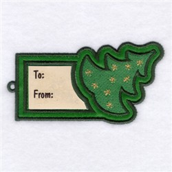 Christmas Tree Gift Tag embroidery design