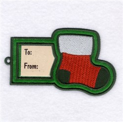 Stocking Gift Tag embroidery design