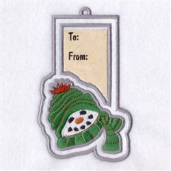 Snowman Gift Tag embroidery design