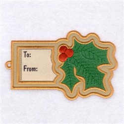 Holly Gift Tag embroidery design