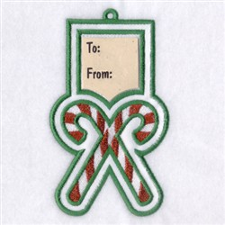 Candy Canes Gift Tag embroidery design