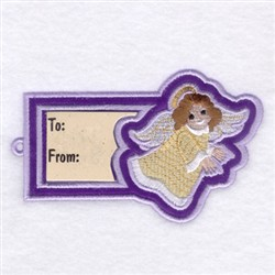 Angel Gift Tag embroidery design