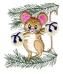 Tree Mouse with Bells embroidery design