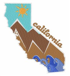 California Landscape embroidery design