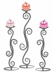 Swirl Candlesticks embroidery design