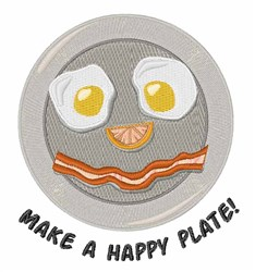 Happy Plate embroidery design