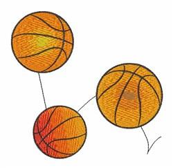 Bouncing Basketballs embroidery design