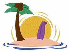 Surfboard Island embroidery design