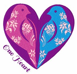 One Heart embroidery design