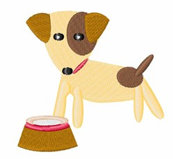Dog & Bowl embroidery design