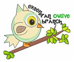 Owlive Branch embroidery design