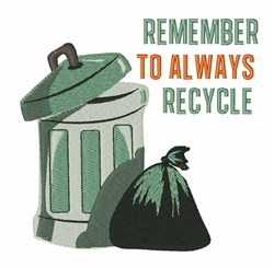 Remember Recycle embroidery design