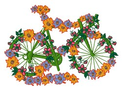 Floral Bicycle embroidery design